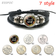 Black Leather Punk Bracelet Glass Cabochon Wrist  Round Cuff Bracelets Serenity Prayer Quote Jewelry