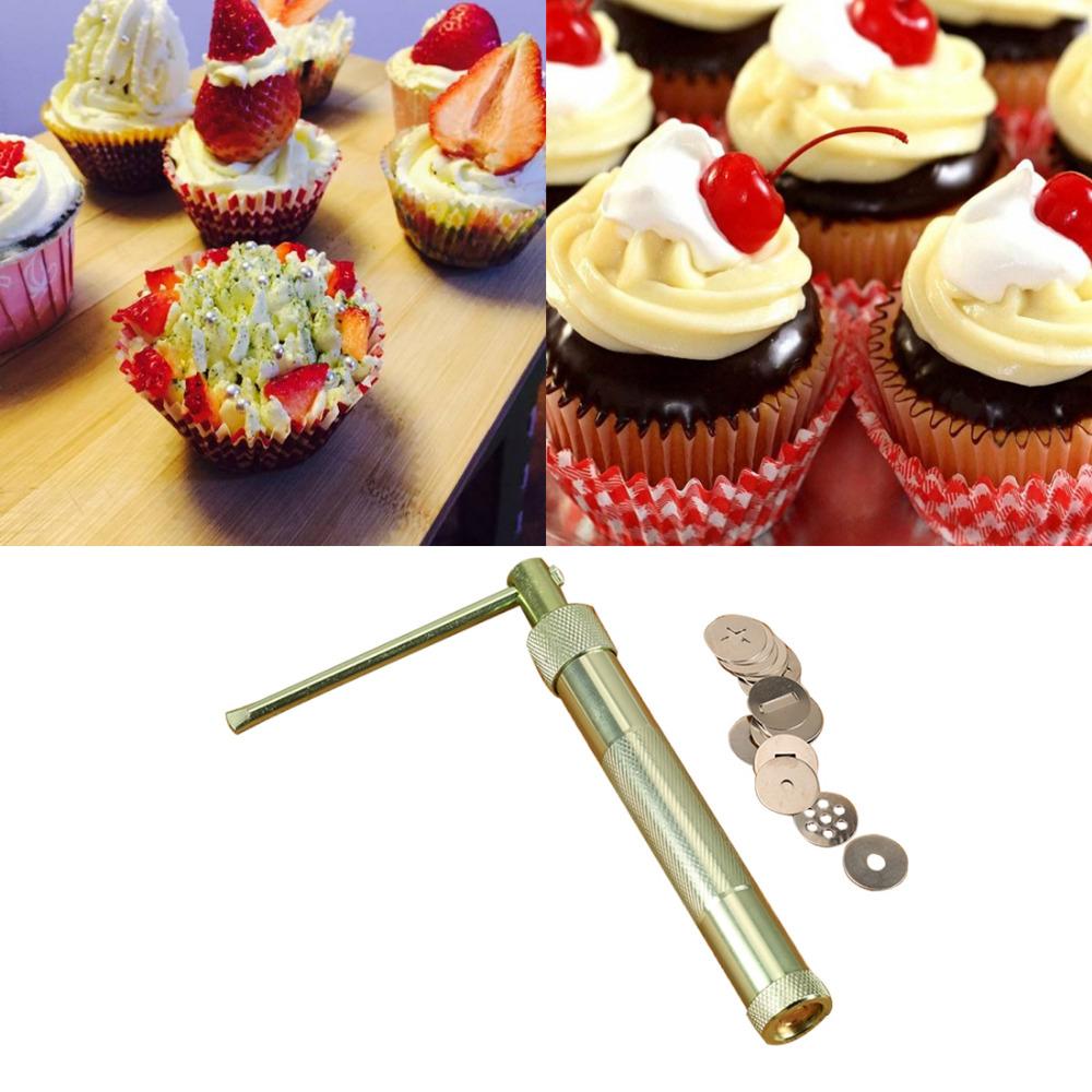 Cool Stainless Steel Sugar Paste Extruder Craft Gun Tips Craft Fondant Cake Sculpture Polymer Clay Tools Random Color