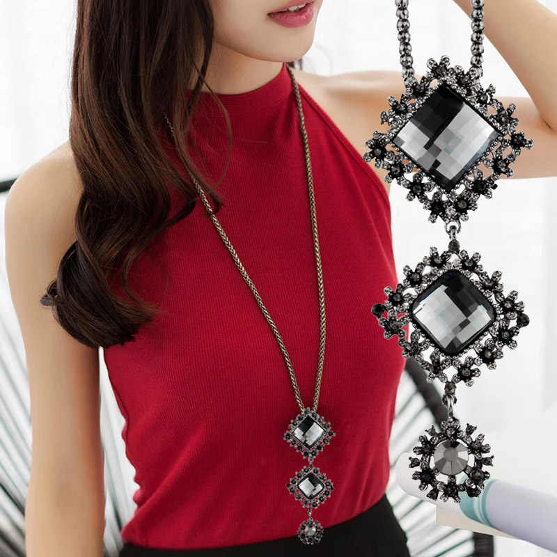 SINLEERY Vintage Gray Cubic Zircon Square Pendant Necklace Black Long Chain Women Statement Maxi Jewelry Accessories MY031 SSC