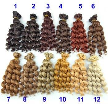 1 pieza 15cm longitud de pelo de muñeca de 1/3/1/4/1/6 bjd rizado BJD pelucas SD pelo de muñeca