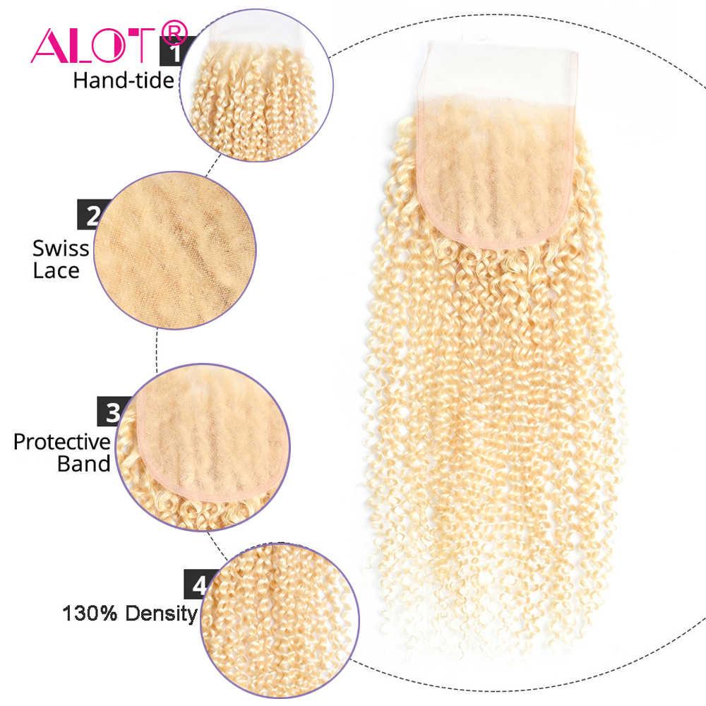 Alot Brezilyalı Kinky Kıvırcık 613 sarı insan saçı Dantel Kapatma Ile 3 Demetleri Yapılabilir Peruk Remy saç ekleme