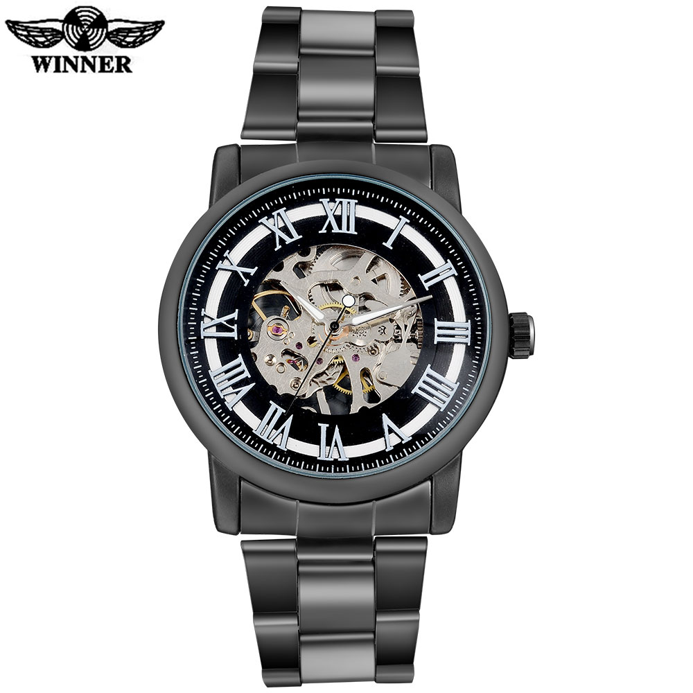 2016 WINNER china brand men fashion mechanical hand wind watches skeleton dial black case transparent glass stainless steel band