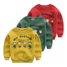 Boys add wool fleece children cartoon printing of new fund of 2016 autumn winters is round collar sweater baby thick warm