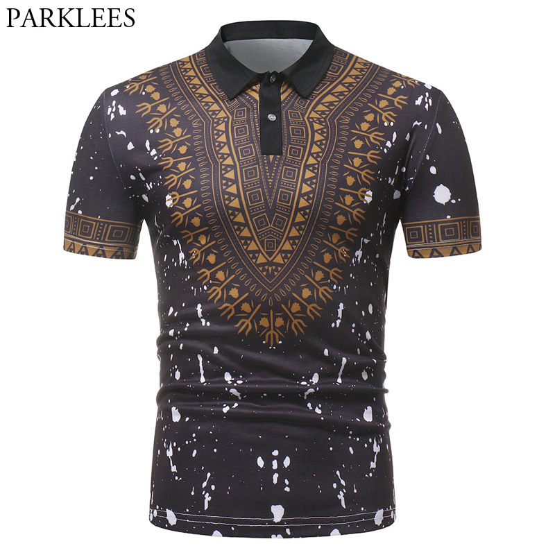Black Splash Ink Print   Polo   Shirt Men 2018 Fashion African Dashiki Slim Short Sleeve   Polos   Para Hombre Casual Hip Hop Mens   Polos