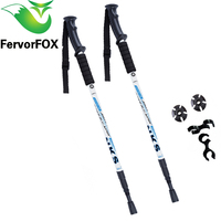 2Pcs Lot Anti Shock Nordic Walking Sticks Telescopic Trekking Hiking Poles Ultralight Walking Canes With Rubber