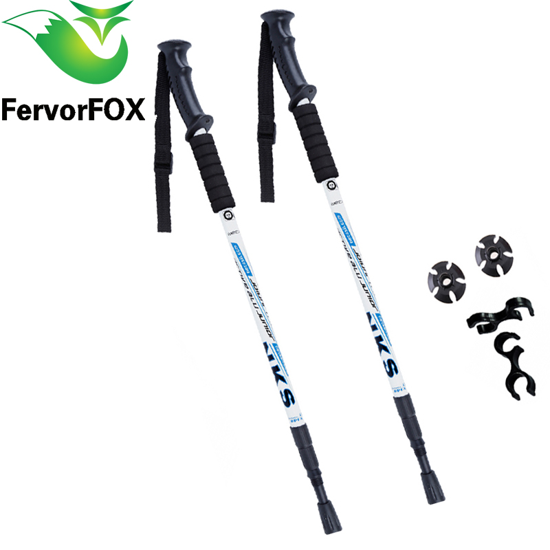 2Pcs / lot Şok əleyhinə Nordic Walking Sticks Telescopic Trekking Gəzinti dirəkləri Ultralight Walking Canes Rezin Tips Qoruyucuları ilə