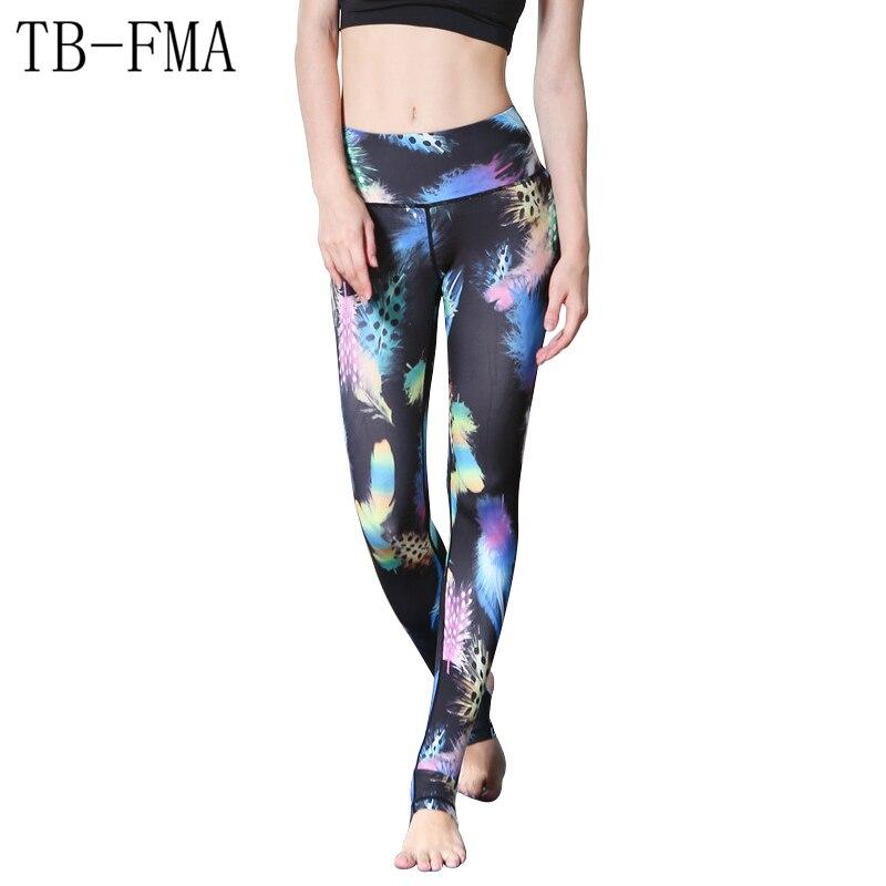 2017 New Women Floral Print pants women sportswear High Waist Compression Yoga Pants Wide Waistband Quick Dry Workout Yoga