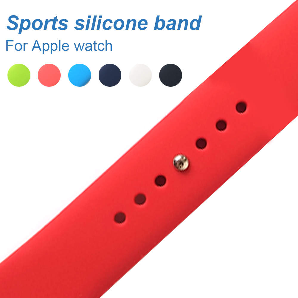 Colorful Soft Silicone Replacement Sport Band For Apple Watch Series1234 38 44 40 42mm Wrist Bracelet Strap For iWatch Sports