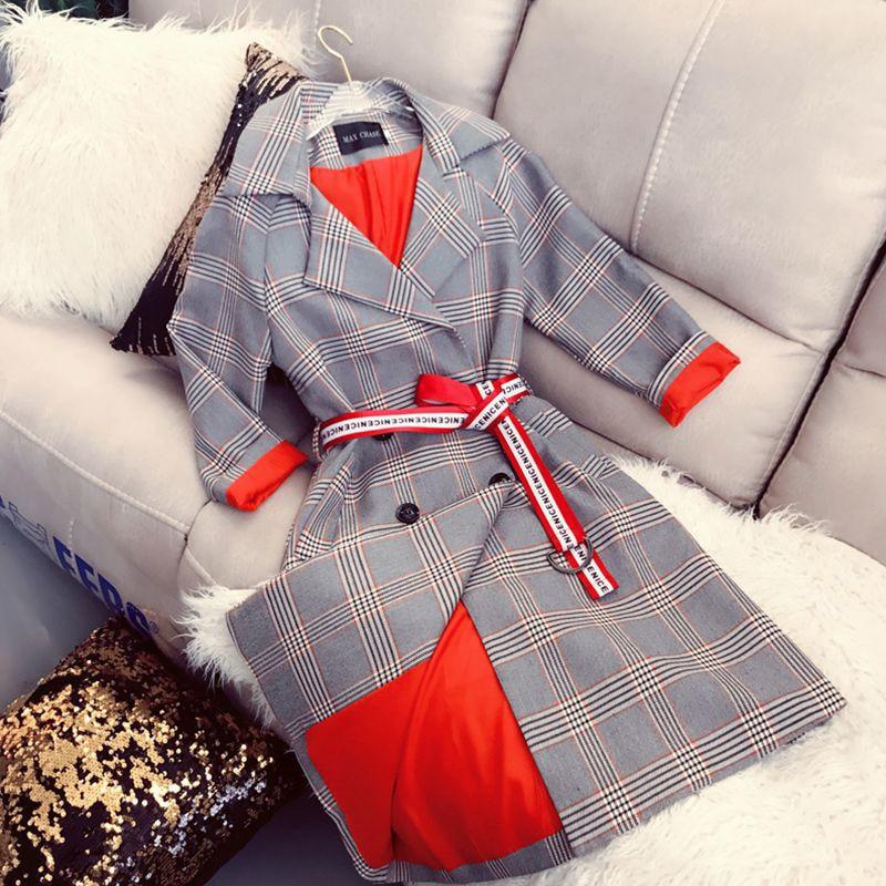 Spring Autumn   Trench   Coat Women Medium-long Full Sleeve Vintage Plaid Outwear Turn-down Collar Female Fashion Casual Windbreaker