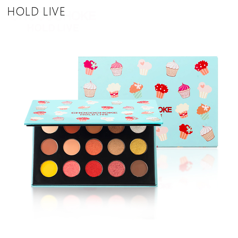HOLD LIVE 15 Colors Matte Eyeshadow Pallete Makeup Brand Long-lasting Ice Cream Nude Shimmer Pigment Glitter Eye Shadow Palette