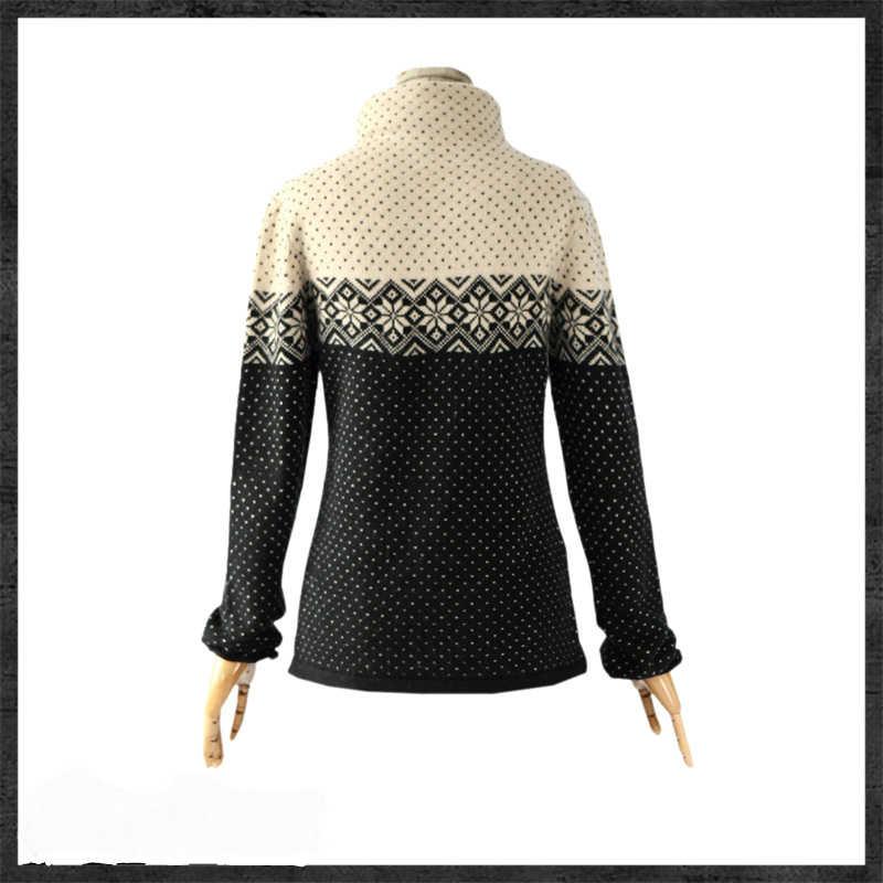Artkasแฟชั่นผู้หญิงยาวแคชเมียร์วินเทจเสื้อกันหนาวและP Ulloversหญิงเสื้อผ้าฤดูใบไม้ร่วงฤดูหนาวที่อบอุ่นเกล็ดหิมะเต่าท็อป