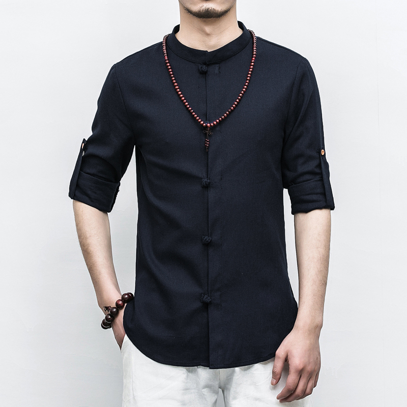 Chinese Style Long-sleeved Shirts Mens 5XL Cotton Linen Fabric Men Shirt Multi-color Choice Male Tops Cool Breathable