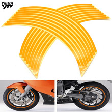 Universal motorbike 16 Strips Wheel Sticker Reflective Rim Stripe Tape Bike Motorcycle 17 18inch Stickers Accessory freeshipping