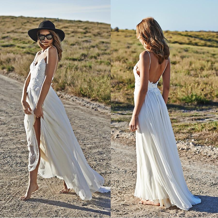 Boho Wedding Dresses: A Line V Neck Backless Chiffon Bohemian Beach Style Boho