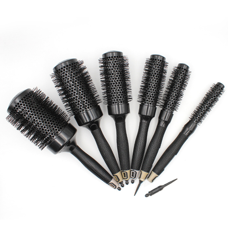 Dropshipping 6pcs/set Creramic Round Lonic Brush Roller Comb Scalp Massager Aluminum Tube Round Barrel Curl Hair Comb Brush 1166