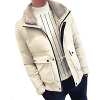 New Jackets Parka Male Hot Sale Quality Winter Warm Thicken Outwear Slim Lamb Fur Collar Mens Coats Casual Windbreak Jackets