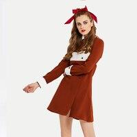 2017 New Women Autumn Dress A Line O Neck Camel Designer Gown Knee Length Long Sleeve