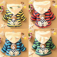 New Baby Winter Cotton Padded Jacket Stripes Bear Fashion Hooded Coat Child Long Sleeve Outerwear Clothes