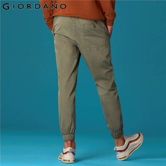 Giordano Men Pants Elastic Waistband Casual Pants Men Solid Twill Joggers Banded Cuffs Mens Trousers Pantalones Hombre 46