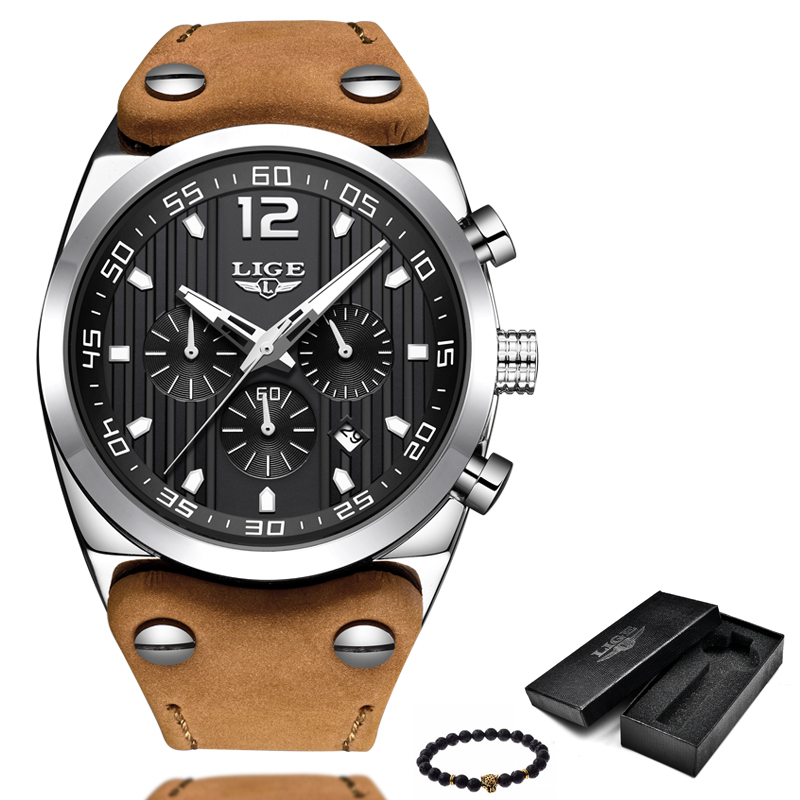 LIGE Mens Watches Top Brand Luxury Mens Military Sports Watch Mens Casual Leather Waterproof Quartz Watch Relogio Masculino+Box vietnam veteran leather mens watch