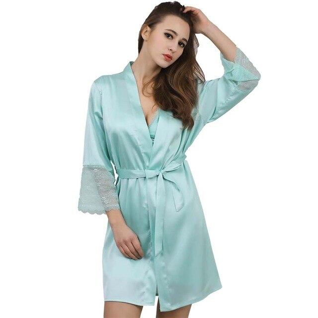 New Fashion Womens Silk Lace Sleep & Lounge Lingerie Temptation Nightgown Kimono Sleepwear Robe Gown With Belt SZ M - XXL