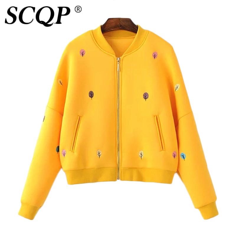 Fashion Yellow Leaves Embroidered Bomber Jacket Women 2016 Zipper