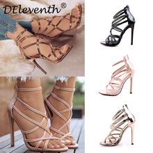 Sexy Fashion Gladiator Woman Sandals Summer Striped Peep Toe Stiletto High Heels Shoes Sandals Black Gold Nude Large US10.5 EU43 deleventh classics sexy women red wedding shoes peep toe stiletto high heels shoes woman sandals black red nude big size 43 us10