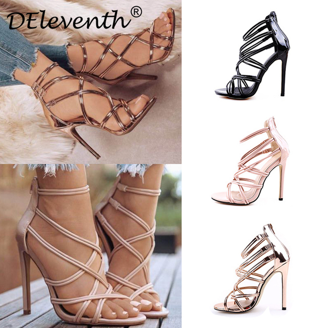 37422dab43585 Sexy Fashion Gladiator Woman Sandals Summer Striped Peep Toe Stiletto High  Heels Shoes Sandals Black Gold Nude Large US10.5 EU43