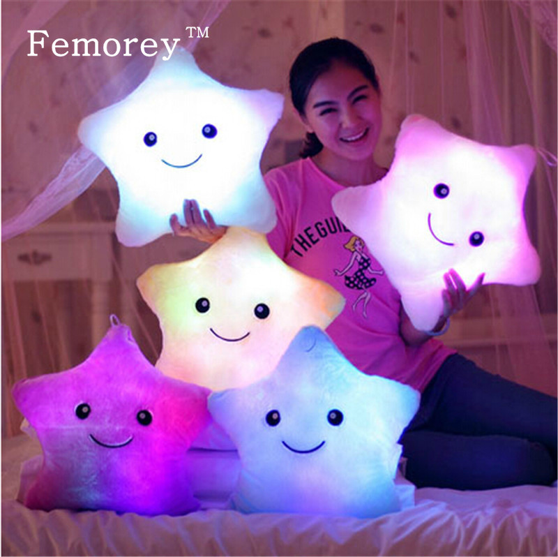 Kawaii Star Pillow Plush Doll Toys Cute Star Dolphin Luminous Stuffed Toys Led Light Pillow Glow In Dark Plush Pillow Doll