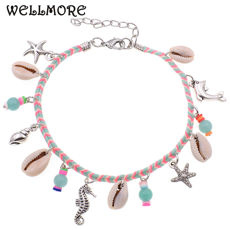 WELLMORE Anklets for women cheap bohemia Anklets Holiday Anklet girl Foot Jewelry beach anklet bracelets wholesale drop shipping