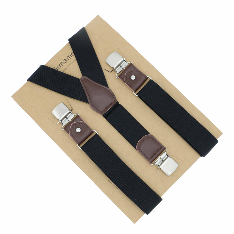 New Mans Suspenders 3 Clips Real Leather Braces Casual Trousers Strap Gift Dad High Quality Tirantes Wedding Wear Solid