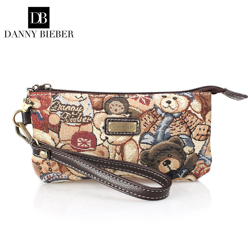 cf761c91a0 New Fashion Women Bag Handbag Famous Brand Danny Bieber Ms Hand Bag  European Style Bear Day Clutch Canvas Phone Bag Zero Wallet-in Wallets from  Luggage ...
