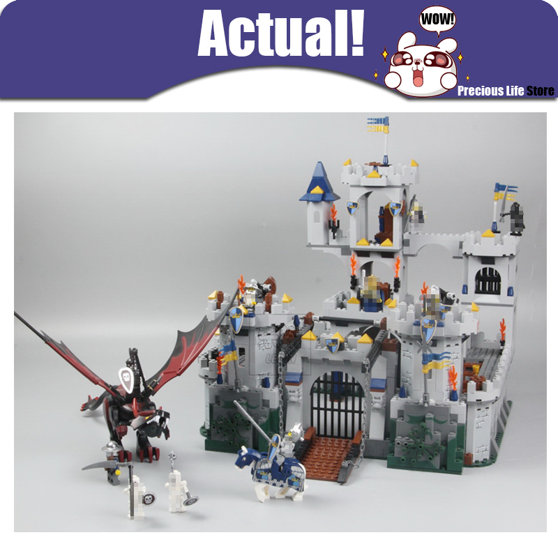 Classic Fantasy Era King`s Castle Siege Lepin 16017 Dungeon Dragon Knights Skeletons Building Blocks Bricks Toys Compatible 7094 lepin genuine 16017 castle series the king s castle siege set children building blocks bricks educational toys model gifts 7094