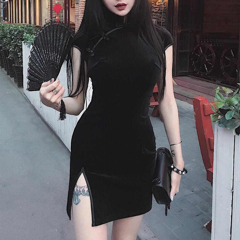 Готический традиционное китайское платье Qipao Cheongsam черный, розовый бархатное с короткими рукавами высокий разрез мини-платье Для женщин вечерние Клубные платья