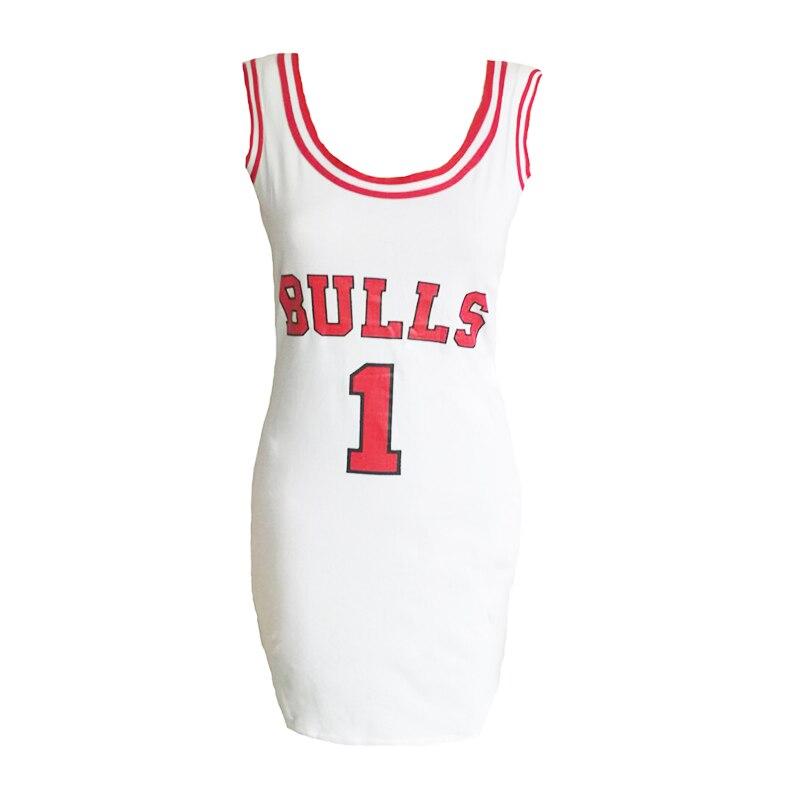 Ladies Summer Dress Women Cute bodycon Bulls Sporting Jersey Above Knee Length O-Neck Tunic Dresses GIGI Hadid Style Vestidos