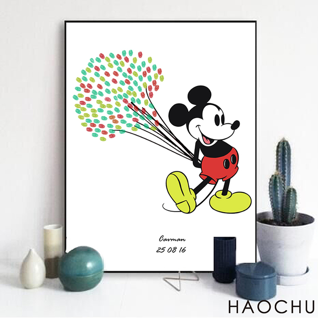 Us 4 96 40 Off Single Poster Creative Art Cartoon Animation Romantic Colorful Balloons Mickey Mouse Best Home Wall Decor Oil Canvas Printing In