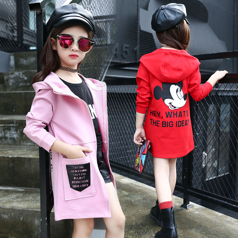 Hooded Jackets For Girls Children Outerwear Cotton Cartoon Mouse Girls Trench Coats Letter Kids Windbreaker 5-13 Year