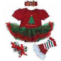 Navidad Del Bebé Minnie Mickey Mamelucos del Bebé de la Muchacha Vestido de Encaje Traje 4 unids establece 2018 Recién Nacido Otoño Ropa Bebe Ropa infantil