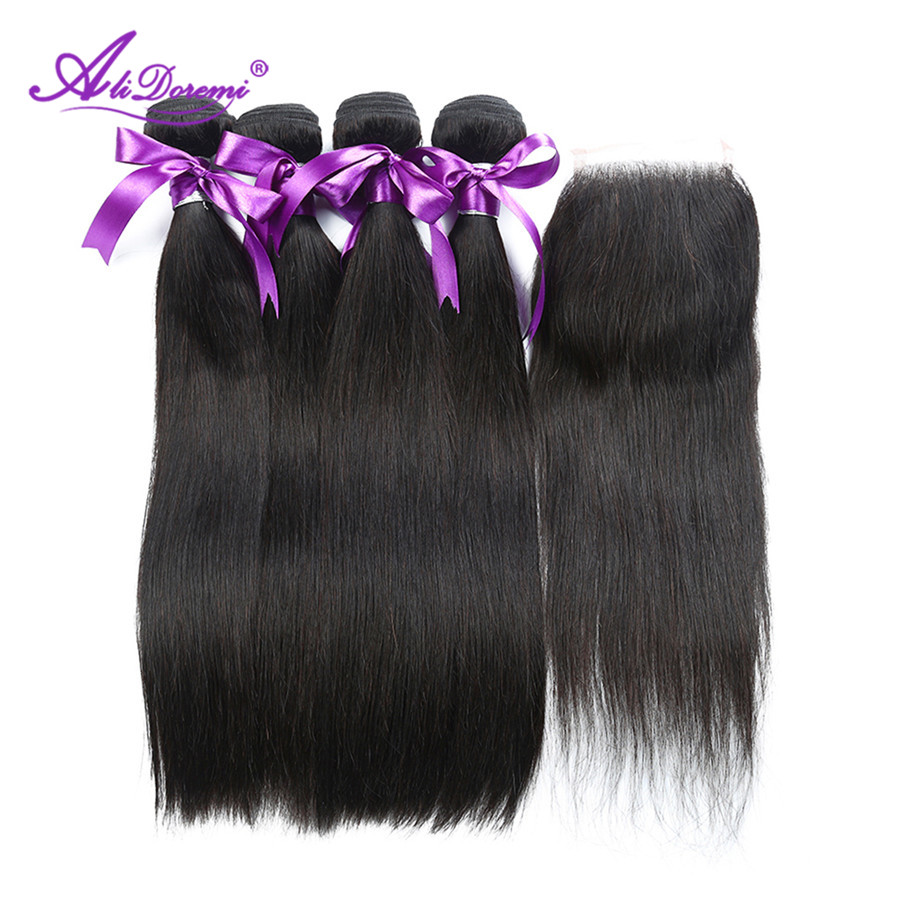 Alidoremi Brazilian Straight hair 4 Bundles With Free Middle Three Part Lace Closure Non remy Natural Color 100 Human Hair Weave