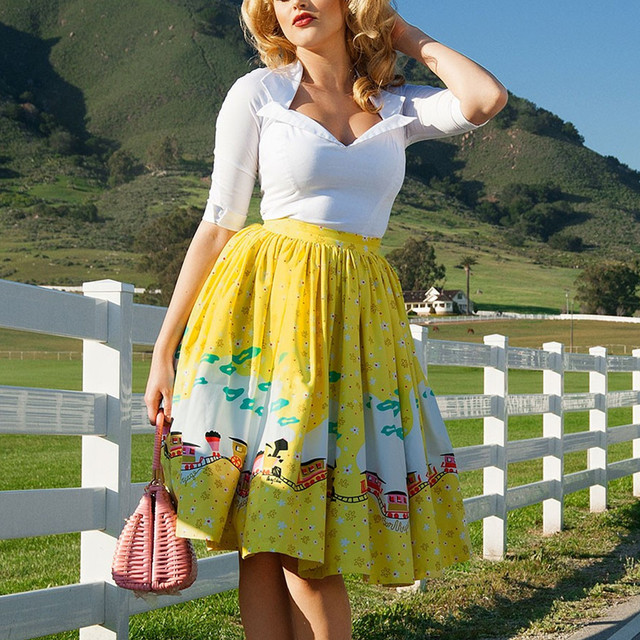 c6efa44b872c2 35- women vintage 50s inspired Mary Blair Yellow Train Border high waist  swing skirt plus size rockabilly pinup saia skirts