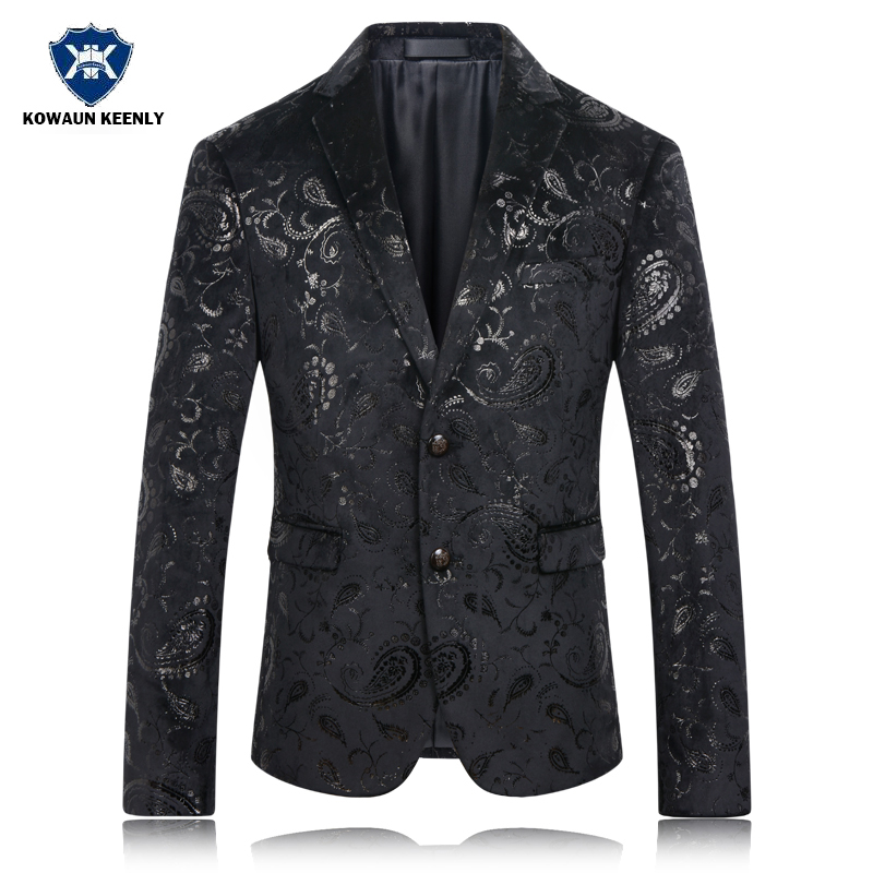 Men Black Blazer Jacket Slim Fit Paisley Floral Wedding Suit Jacket Party Costumes Stage Wear Singer Mens Sequin Floral Blazer