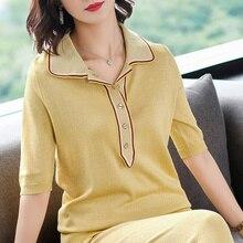 2XL брендовая футболка Топы Летняя женская футболка новая полосатая футболка с отворотом модная повседневная свободная дерзкая рубашка с коротким рукавом женская