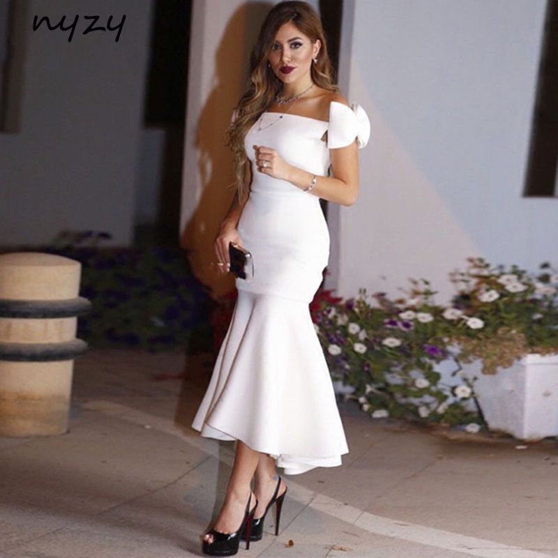 NYZY C22 Satin High Low   Cocktail     Dresses   Off Shoulder Big Bow White Wedding Party Gowns Guest Wear vestidos de festa curto
