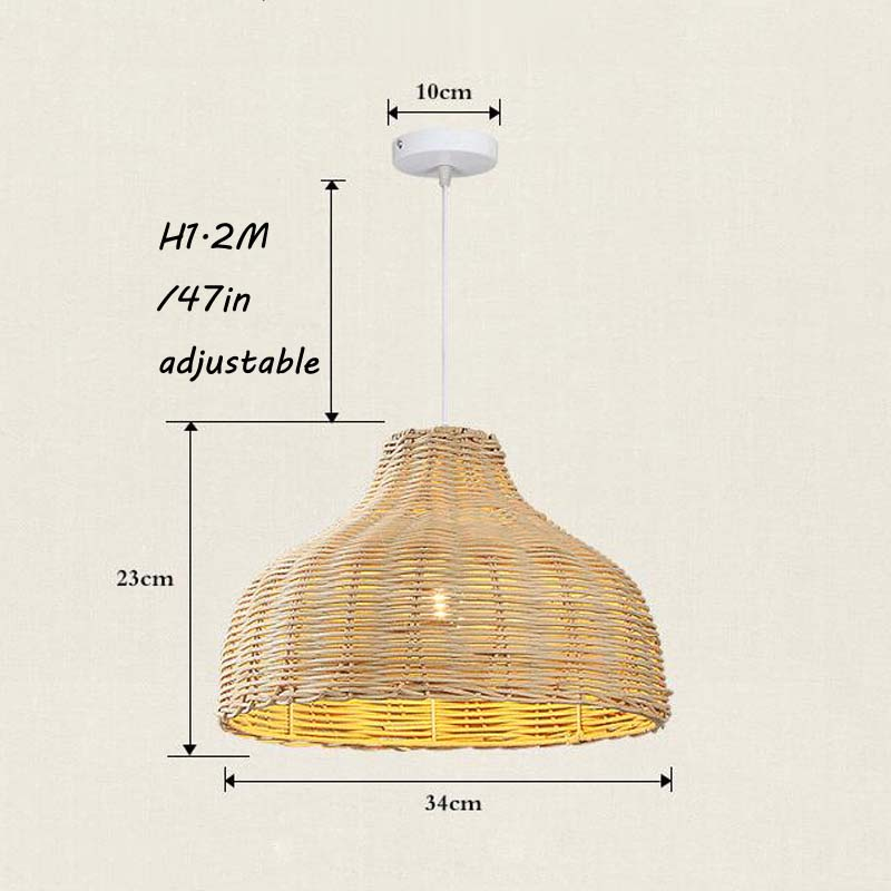Contemporary Rattan Hanging Pendant Light Country Hand Woven Wicker Drop Home Lighting Pendant Lamp Restaurant Cafe Shop Bar Pendant Light (23)