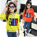 Kids girls fashion ccasual colourful sweatshirt long full sleeves hooded tops children clothes