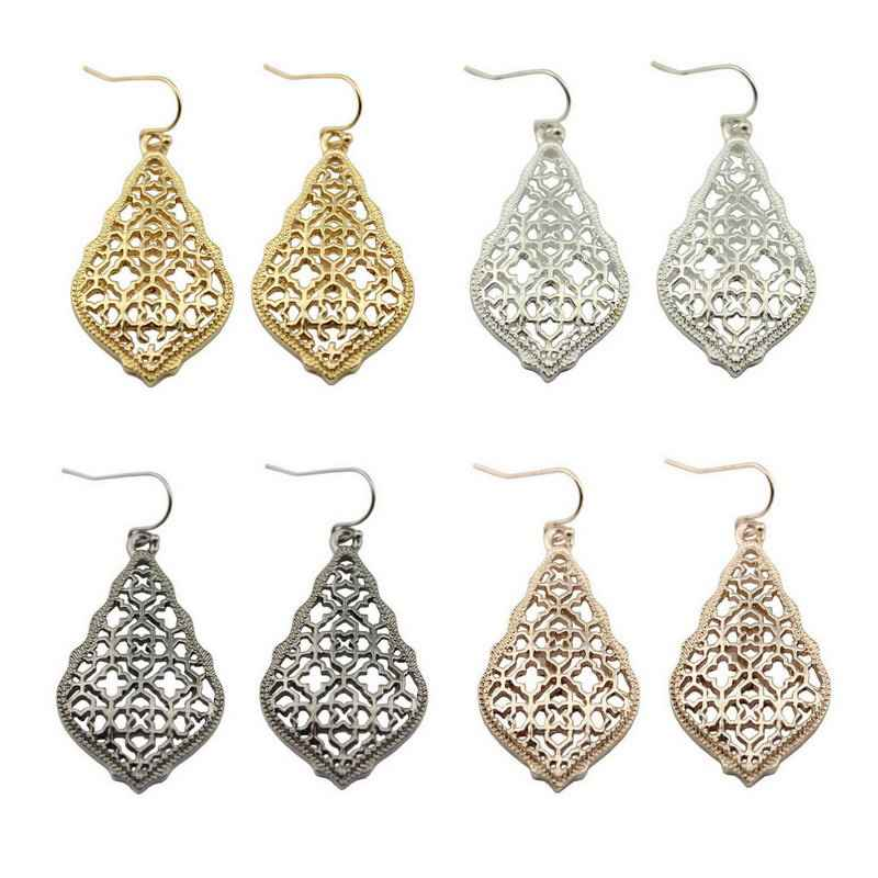 Women Cut off Clover Filigree Dangle Drop Earrings
