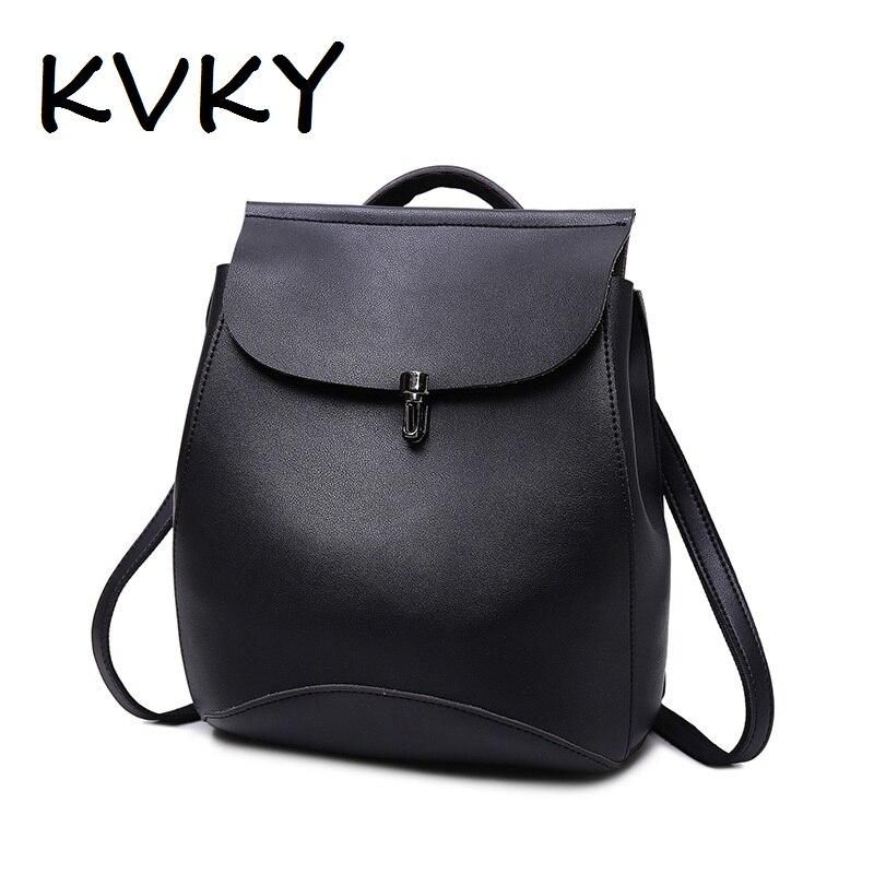 цены  KVKY Pu Female Backpack New Fashion Casual Shoulder Bag Rucksack Mochila Escolar Backpack For Women Girl