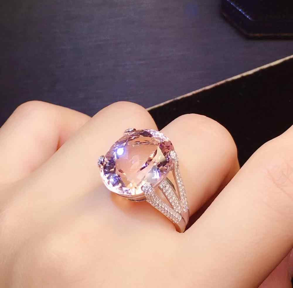 Fine Jewelry Pure 18K White Gold 100% Natural Pink Beryl Heliodor Morganite Gemstones 13ct Jewellery for women Fine Ring