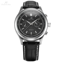 Ks腕時計高級ブランドシルバーケース日付日表示ブラックレザーストラップ時計自動自己風メカニカルメンズ腕時計/KS184