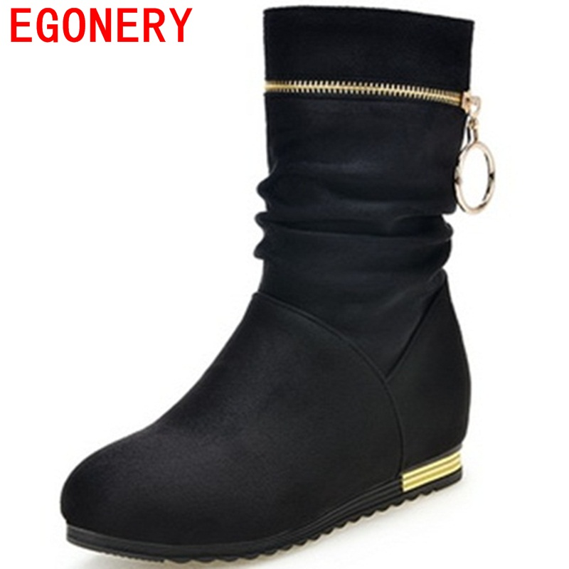 EGONERY mid-calf boots fine workmanship good elasticity breathable metal ring and zip design warm winter for women fashion boots